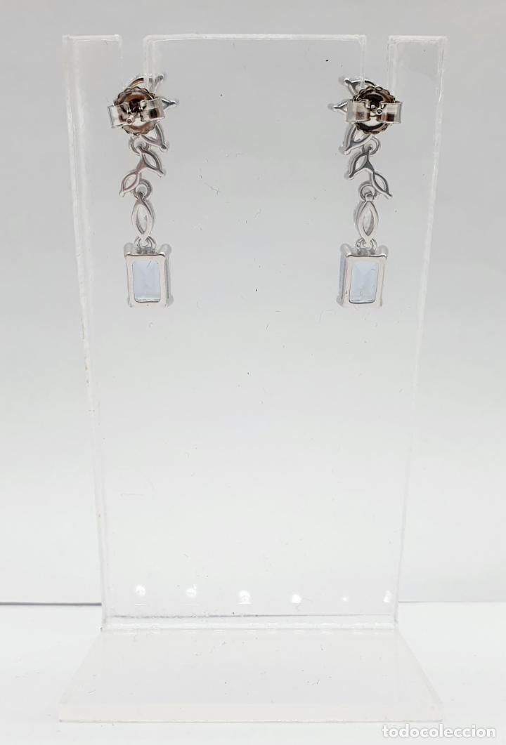 Joyeria: Elegantes pendientes de estilo nupcial en plata de ley, circonitas talla marqués y aguamarinas . - Foto 4 - 214740448