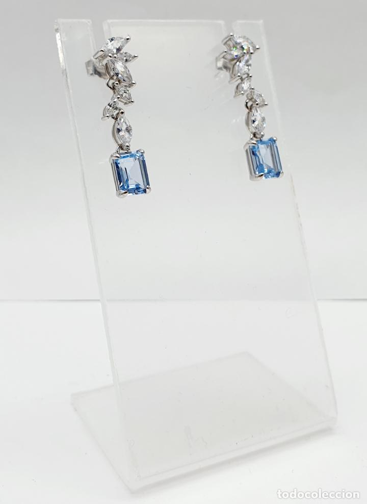 Joyeria: Elegantes pendientes de estilo nupcial en plata de ley, circonitas talla marqués y aguamarinas . - Foto 5 - 214740448
