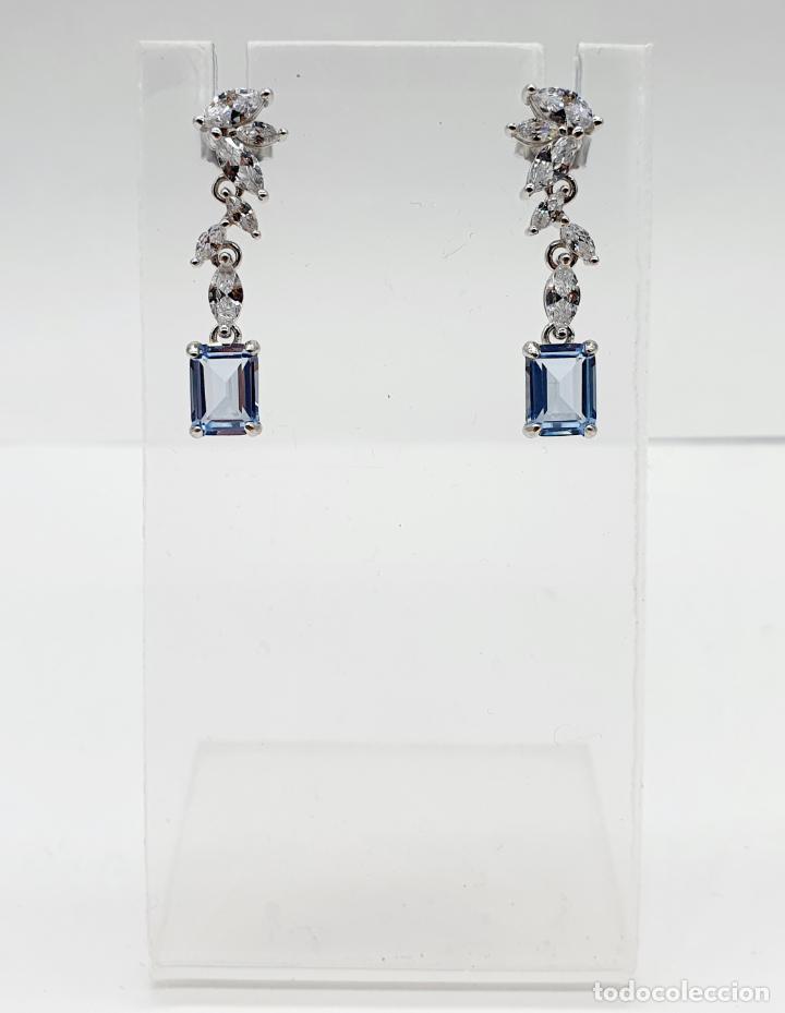 Joyeria: Elegantes pendientes de estilo nupcial en plata de ley, circonitas talla marqués y aguamarinas . - Foto 6 - 214740448