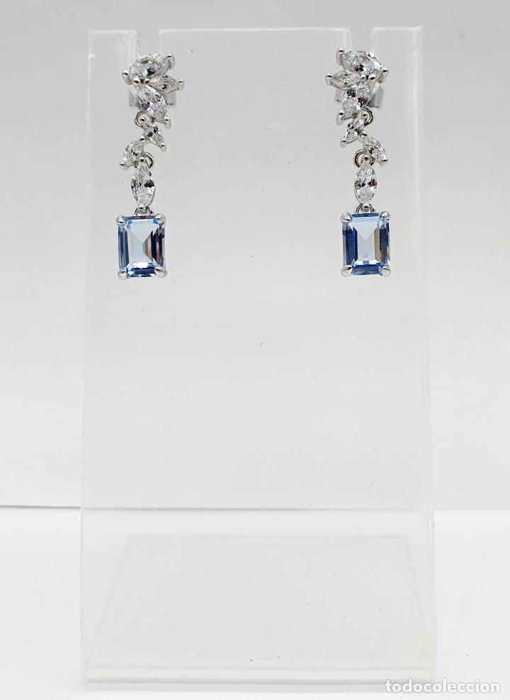 Joyeria: Elegantes pendientes de estilo nupcial en plata de ley, circonitas talla marqués y aguamarinas . - Foto 2 - 214740448