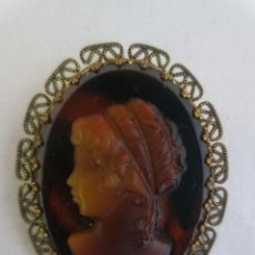Joyeria: BROCHE CAMAFEO DE CRISTAL SIMIL CAREY. Lote 214963073