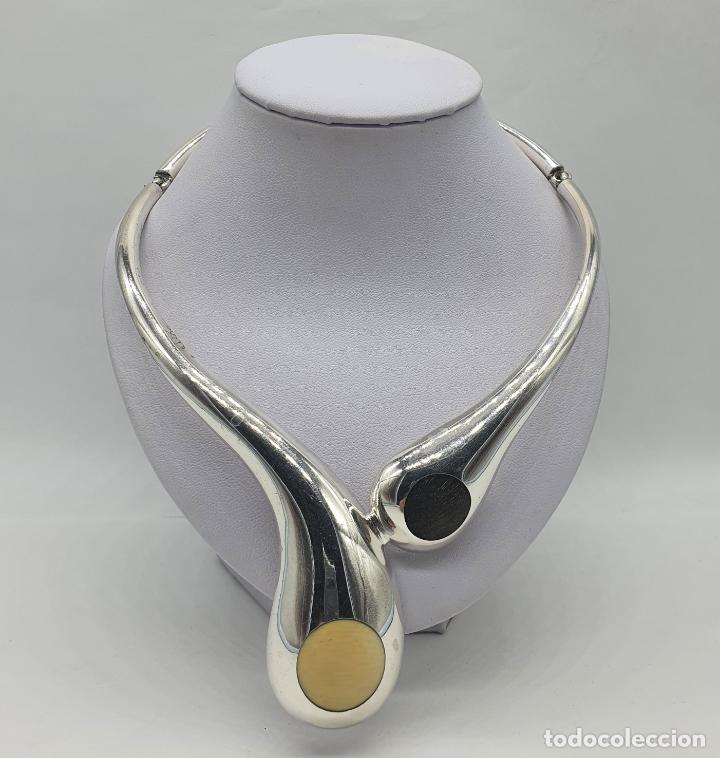 Joyeria: Espectacular gargantilla antigua de diseño art decó en plata de ley contrastada, marfil y ebano . - Foto 3 - 215180483