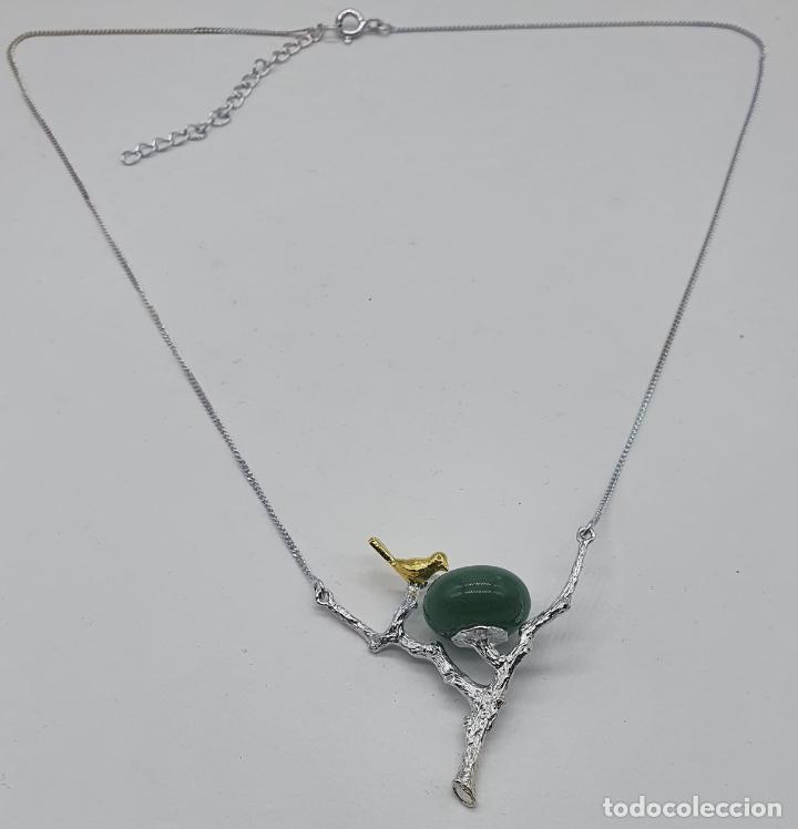 Joyeria: Bella gargantilla con ave sobre rama, diseño minimalista en plata de ley, oro de 18k y jade natural - Foto 3 - 215191313