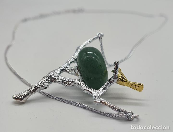Joyeria: Bella gargantilla con ave sobre rama, diseño minimalista en plata de ley, oro de 18k y jade natural - Foto 4 - 215191313