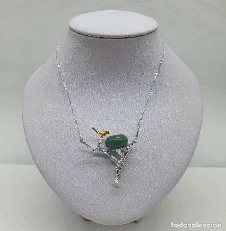 Joyeria: Bella gargantilla con ave sobre rama, diseño minimalista en plata de ley, oro de 18k y jade natural - Foto 5 - 215191313