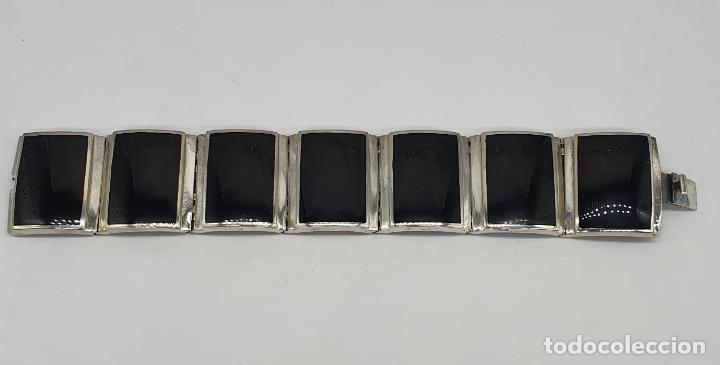 Joyeria: Gran brazalete de eslabones articulados en plata de ley contrastada y aplicaciones en símil de onix - Foto 4 - 215391455