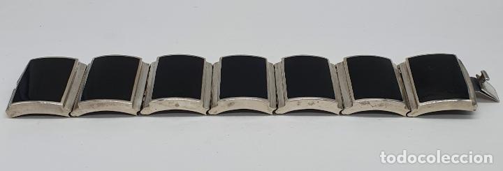 Joyeria: Gran brazalete de eslabones articulados en plata de ley contrastada y aplicaciones en símil de onix - Foto 5 - 215391455