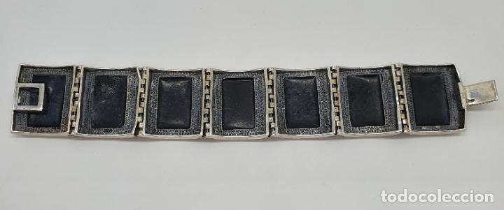 Joyeria: Gran brazalete de eslabones articulados en plata de ley contrastada y aplicaciones en símil de onix - Foto 6 - 215391455