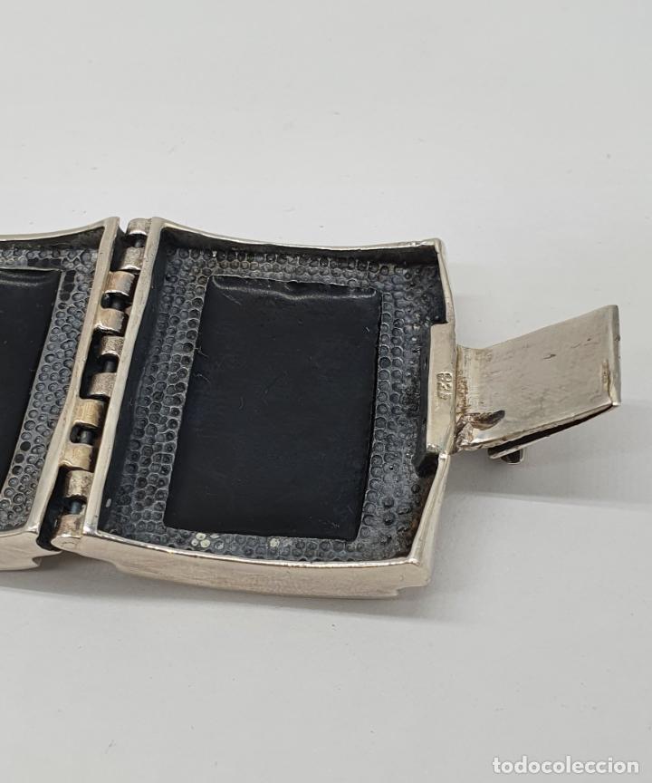 Joyeria: Gran brazalete de eslabones articulados en plata de ley contrastada y aplicaciones en símil de onix - Foto 7 - 215391455