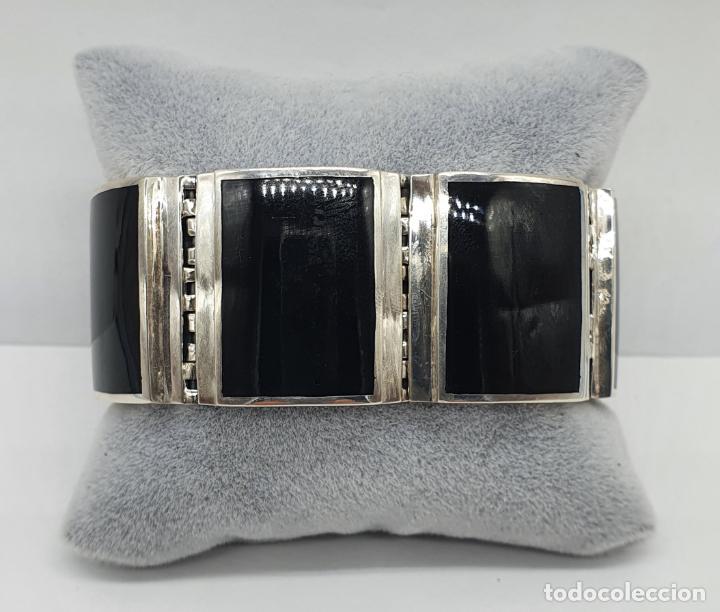 Joyeria: Gran brazalete de eslabones articulados en plata de ley contrastada y aplicaciones en símil de onix - Foto 8 - 215391455