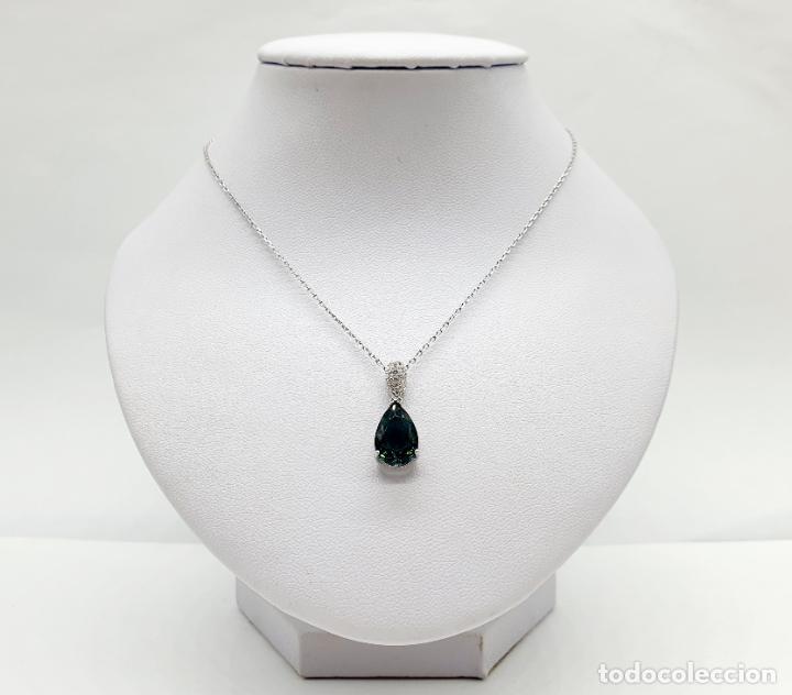 Joyeria: Elegante colgante en plata de ley, circonitas talla brillante y turmalina talla pera engarzada . - Foto 4 - 215393741