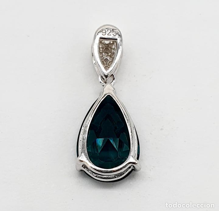 Joyeria: Elegante colgante en plata de ley, circonitas talla brillante y turmalina talla pera engarzada . - Foto 3 - 215393741