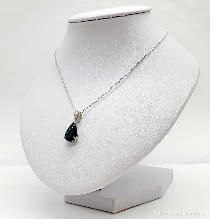 Joyeria: Elegante colgante en plata de ley, circonitas talla brillante y turmalina talla pera engarzada . - Foto 5 - 215393741