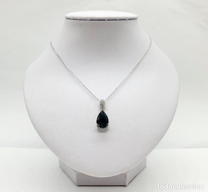Joyeria: Elegante colgante en plata de ley, circonitas talla brillante y turmalina talla pera engarzada . - Foto 6 - 215393741