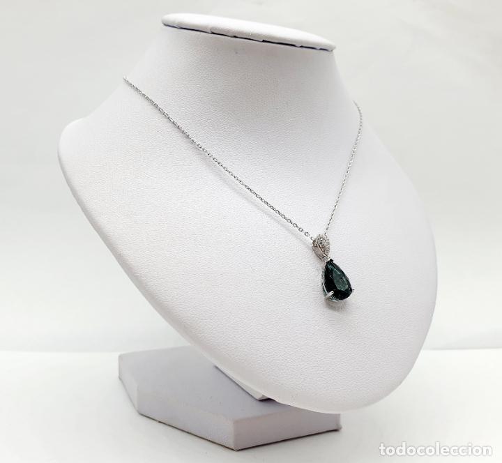 Joyeria: Elegante colgante en plata de ley, circonitas talla brillante y turmalina talla pera engarzada . - Foto 7 - 215393741
