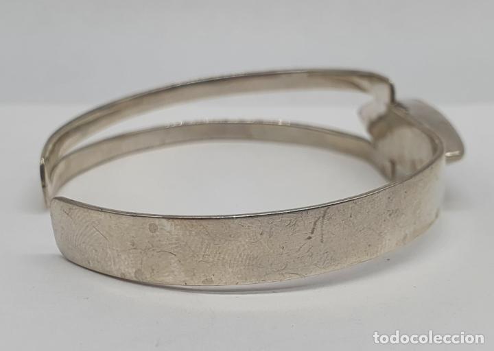Joyeria: Brazalete antiguo art decó en plata de ley 950 con cabujón de sodalita natural incrustada . - Foto 5 - 215399661