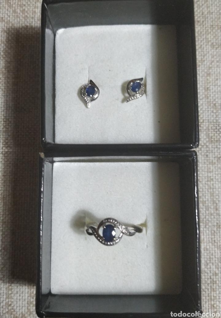 Joyeria: Anillo y pendientes oro blanco y zafiros - Foto 4 - 215472842
