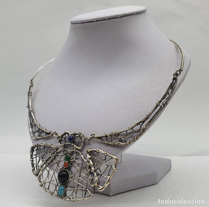 Joyeria: Magnífica gargantilla antigua de diseño en plata de ley con cabujones de coral, malaquita, turquesa, - Foto 2 - 215789542