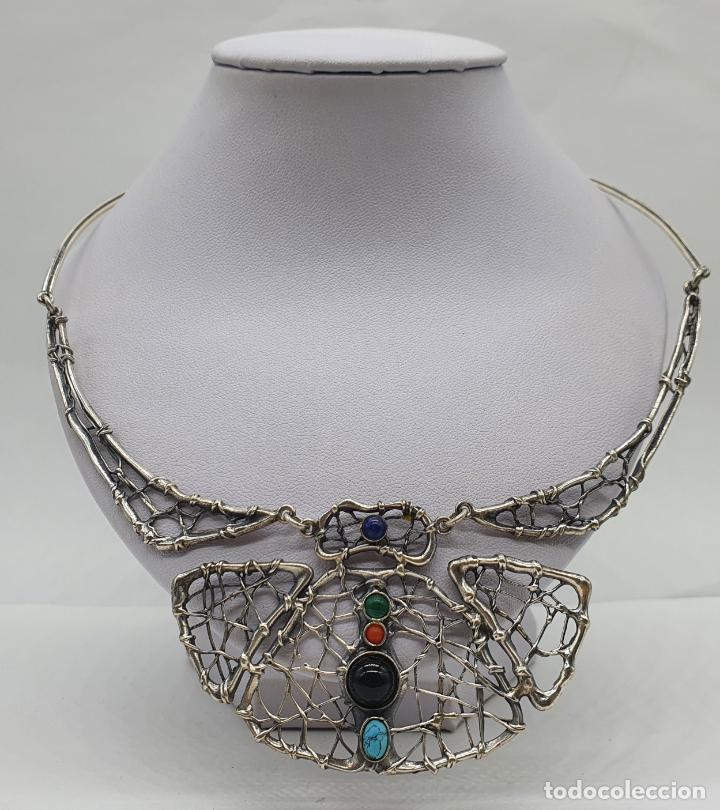 Joyeria: Magnífica gargantilla antigua de diseño en plata de ley con cabujones de coral, malaquita, turquesa, - Foto 3 - 215789542