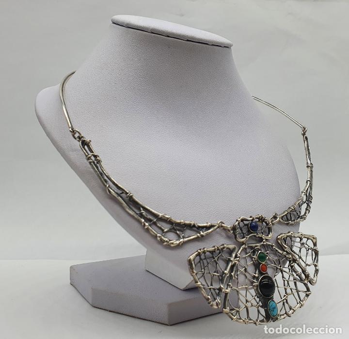 Joyeria: Magnífica gargantilla antigua de diseño en plata de ley con cabujones de coral, malaquita, turquesa, - Foto 4 - 215789542