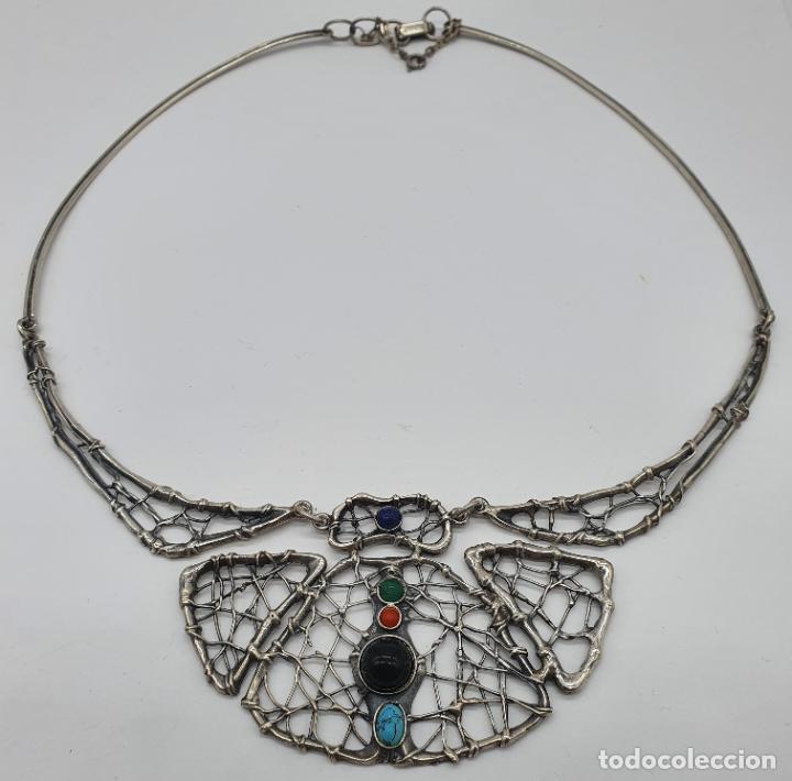 Joyeria: Magnífica gargantilla antigua de diseño en plata de ley con cabujones de coral, malaquita, turquesa, - Foto 5 - 215789542