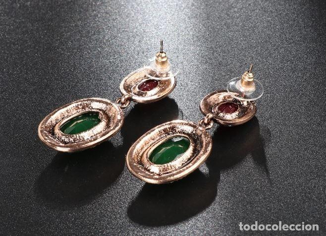 Joyeria: Pendientes largos en oro viejo estilo isabelino con piedras preciosas - Foto 4 - 224571105