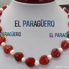 Joyeria: COLLAR DE ALTA JOYERIA DE RUBIS CORAZON TRANSPARENTES ROJO SANGRE Y PERLAS BLANCAS - Nº128. Lote 215952068