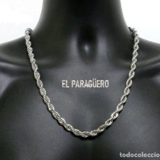 Joyeria: CORDON RIZADO DE ORO BLANCO DE 18 KILATES LAMINADO - MIDE 67,6 X 0,6 CM PESA 55 GRA - P1. Lote 216904762