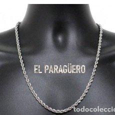 Joyeria: CORDON RIZADO DE ORO BLANCO DE 18 KILATES LAMINADO - MIDE 56,5 X 0,4 CM PESA 21 GRA - P2. Lote 216908158