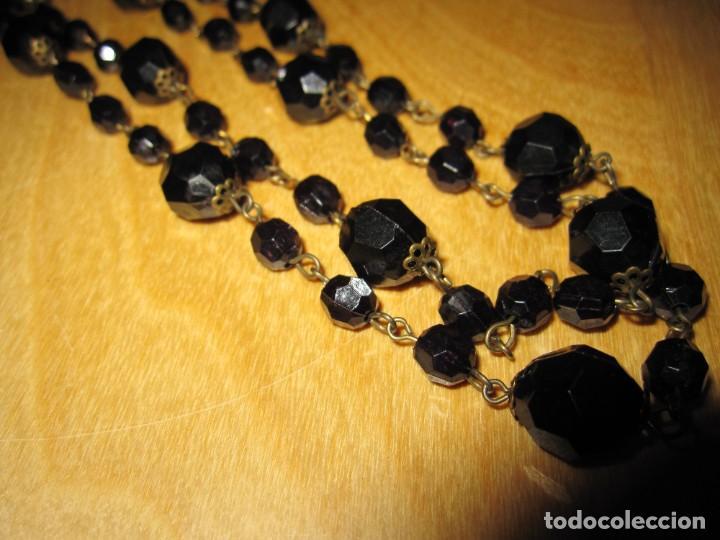 Joyeria: Collar largo antiguo vintage cuentas negras brillantes - Foto 6 - 245756165