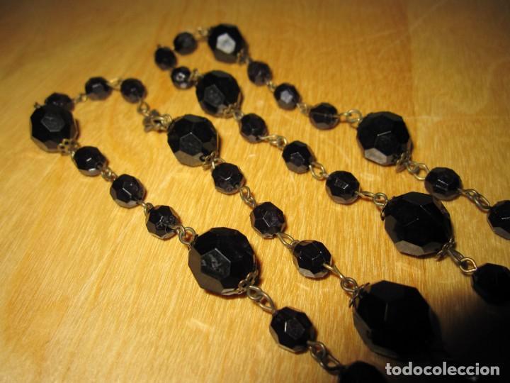 Joyeria: Collar largo antiguo vintage cuentas negras brillantes - Foto 9 - 245756165