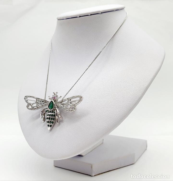 Joyeria: Bello broche de insecto estilo art decó chapado en oro blanco 18k, circonitas y turmalinas . - Foto 2 - 242240495