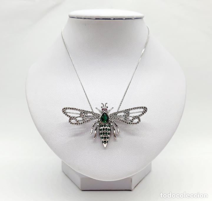 Joyeria: Bello broche de insecto estilo art decó chapado en oro blanco 18k, circonitas y turmalinas . - Foto 3 - 242240495