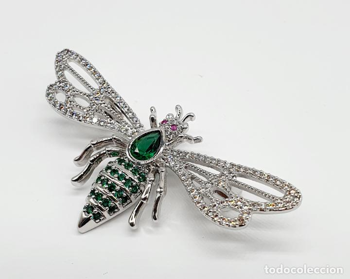 Joyeria: Bello broche de insecto estilo art decó chapado en oro blanco 18k, circonitas y turmalinas . - Foto 5 - 242240495
