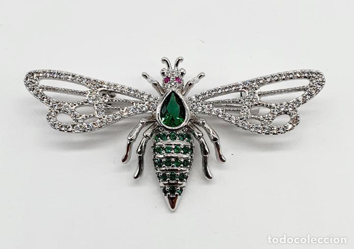 Joyeria: Bello broche de insecto estilo art decó chapado en oro blanco 18k, circonitas y turmalinas . - Foto 6 - 242240495