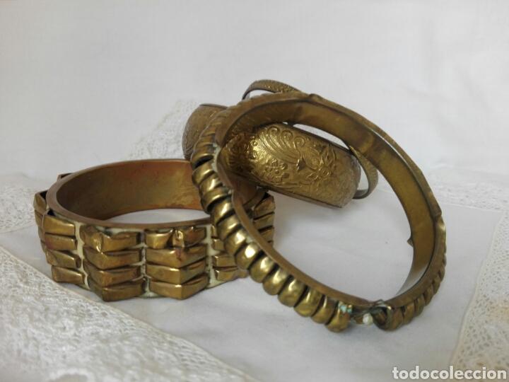 Joyeria: Raras pulseras de bronce con formas geométricas grabadas brazaletes África ideal danza del vientre - Foto 2 - 217990505