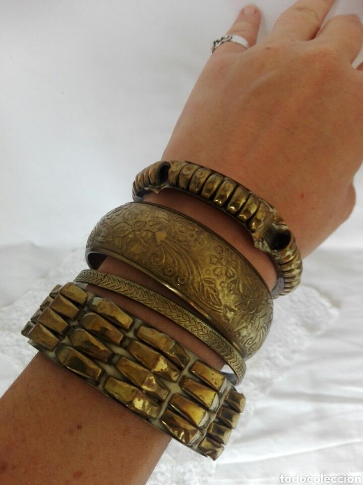 Joyeria: Raras pulseras de bronce con formas geométricas grabadas brazaletes África ideal danza del vientre - Foto 3 - 217990505