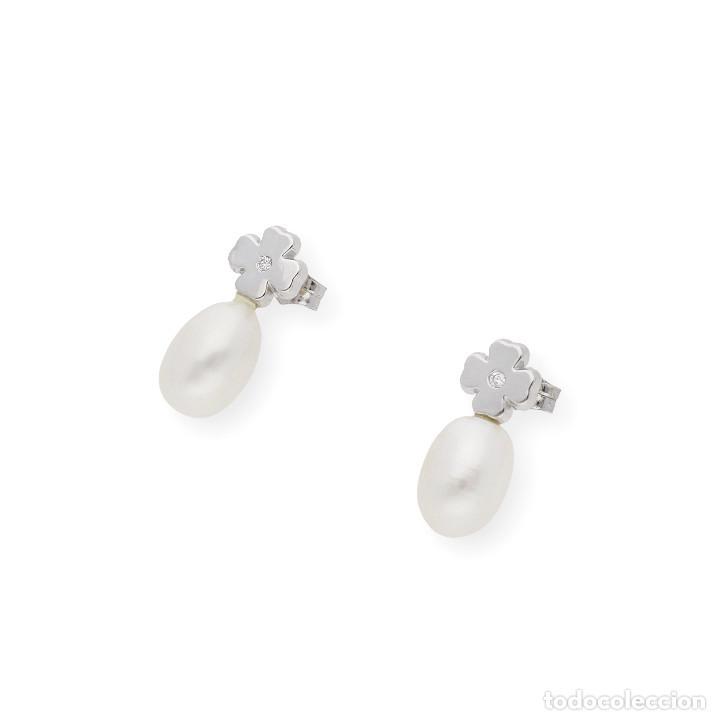 Joyeria: Pendientes Trébol 4 Hojas Diamantes Perlas Agua Dulce y Oro de Ley 18 kt - Foto 3 - 218092110