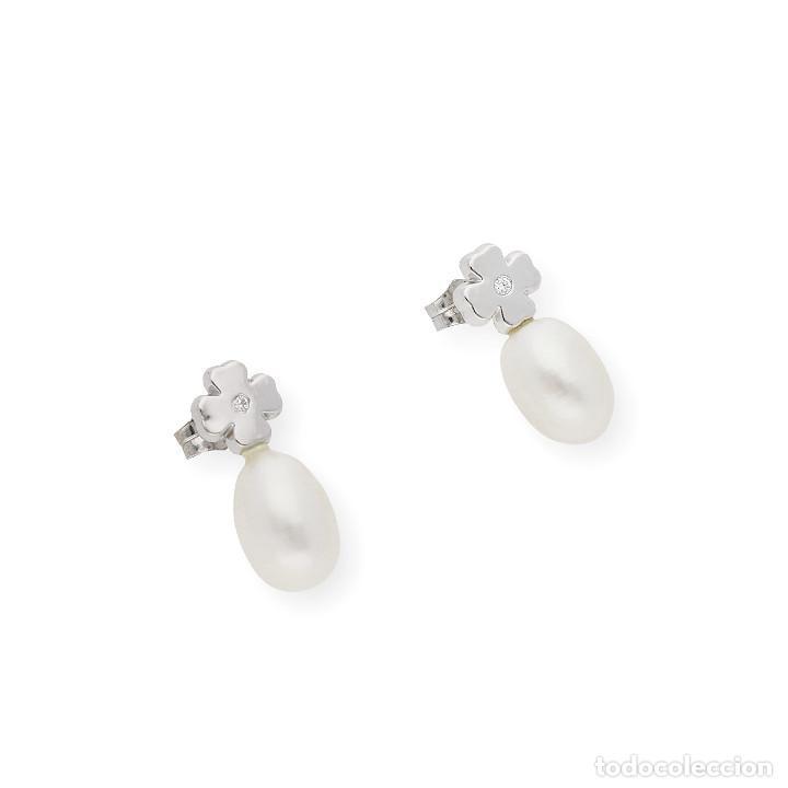 Joyeria: Pendientes Trébol 4 Hojas Diamantes Perlas Agua Dulce y Oro de Ley 18 kt - Foto 4 - 218092110