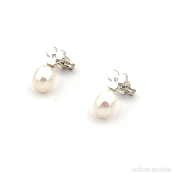 Joyeria: Pendientes Trébol 3 Hojas Diamantes Perlas Agua Dulce y Oro de Ley 18 kt - Foto 2 - 218092958