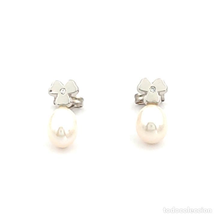 Joyeria: Pendientes Trébol 3 Hojas Diamantes Perlas Agua Dulce y Oro de Ley 18 kt - Foto 4 - 218092958