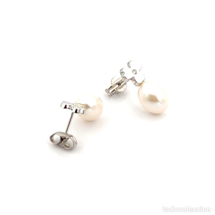 Joyeria: Pendientes Trébol 3 Hojas Diamantes Perlas Agua Dulce y Oro de Ley 18 kt - Foto 5 - 218092958