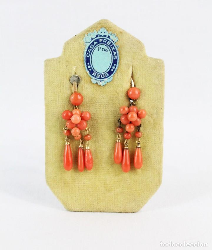 Joyeria: Pendientes s XIX en oro de 18kt y coral - A pair of earrings 19th century. 18kt gold & coral - Foto 1 - 218100295