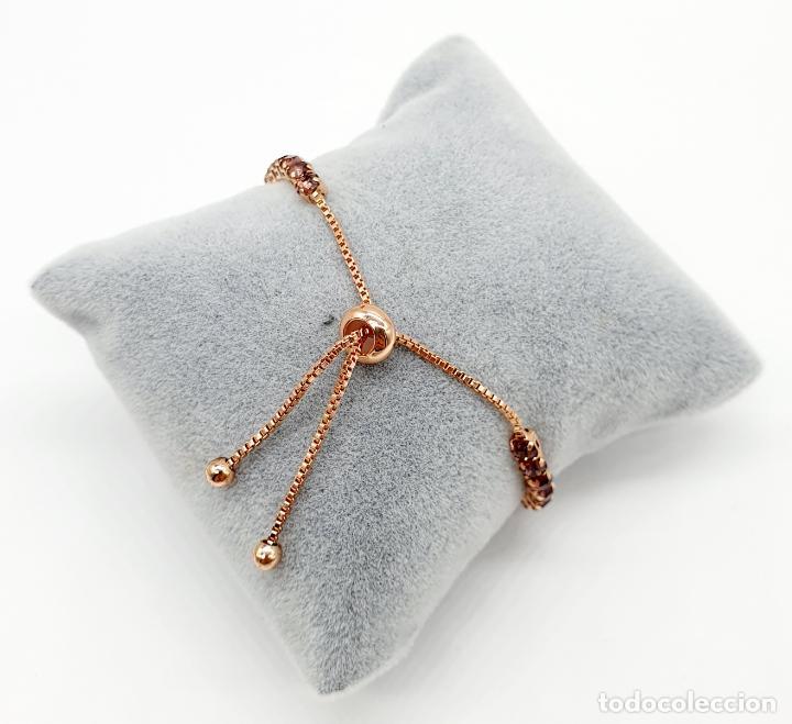 Joyeria: Elegante pulsera con baño de oro rosa de 18k y circonitas en tono vino rosado engarzadas . - Foto 5 - 218235635