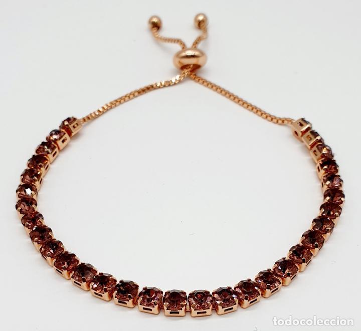 Joyeria: Elegante pulsera con baño de oro rosa de 18k y circonitas en tono vino rosado engarzadas . - Foto 6 - 218235635