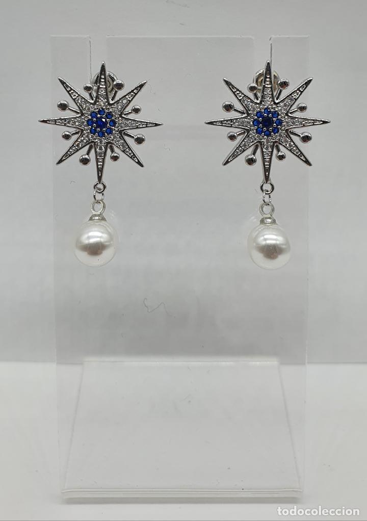 Joyeria: Elegantes pendientes en plata de ley, acabados en oro blanco de 18k, pedrería y perlas . - Foto 3 - 219016238