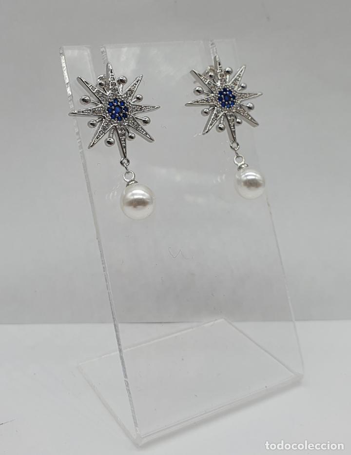 Joyeria: Elegantes pendientes en plata de ley, acabados en oro blanco de 18k, pedrería y perlas . - Foto 4 - 219016238