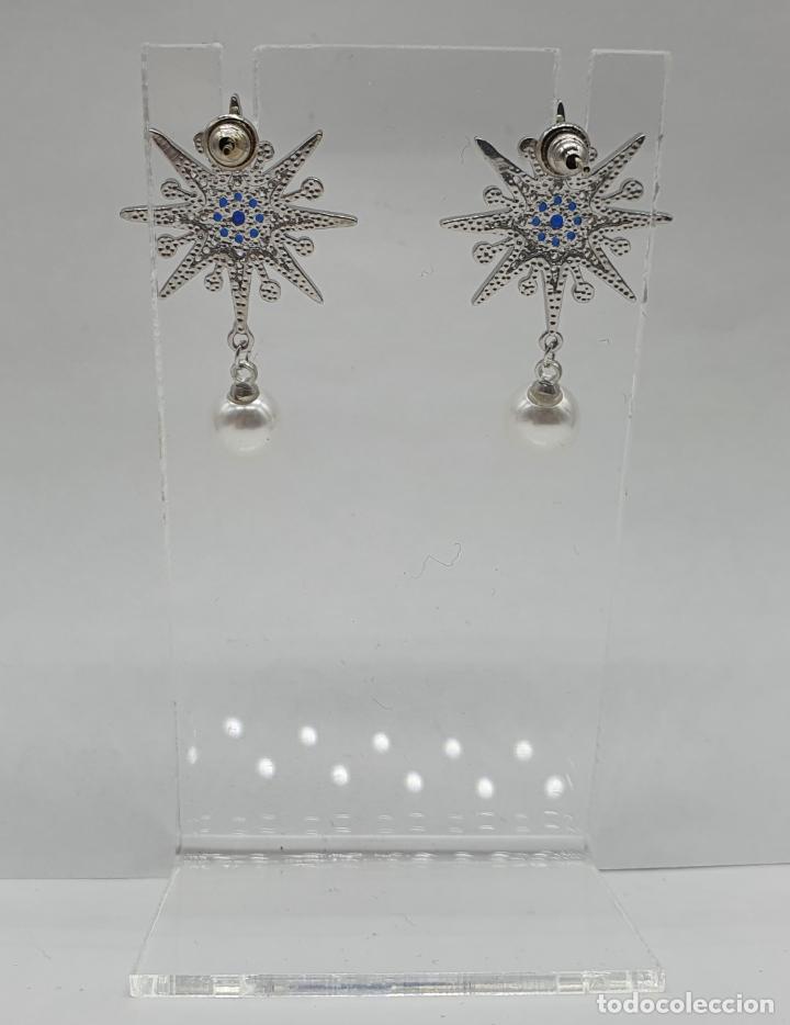 Joyeria: Elegantes pendientes en plata de ley, acabados en oro blanco de 18k, pedrería y perlas . - Foto 5 - 219016238