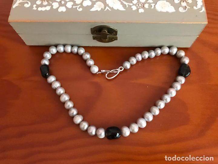 Joyeria: precioso collar/ gargantilla de perlas cultivadas broche de plata de ley 925 con cajita - Foto 4 - 219365222