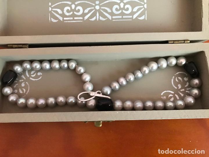 Joyeria: precioso collar/ gargantilla de perlas cultivadas broche de plata de ley 925 con cajita - Foto 5 - 219365222